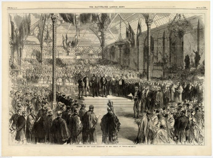 1868 Print LEEDS EXHIBITION OPENING Prince of Wales LARGE ANTIQUE ENGRAVING